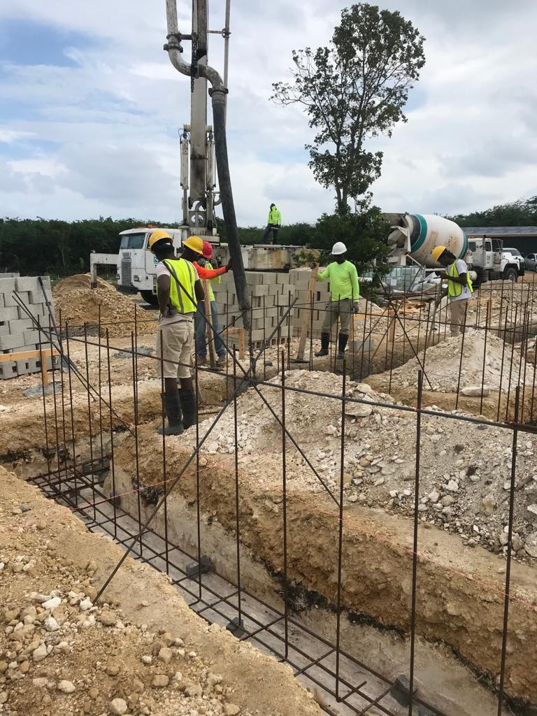 Site update: Pouring of the concrete for the building footing 1 of 3